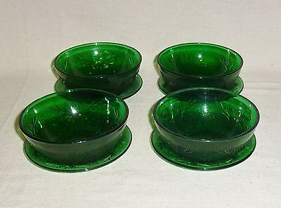 Anchor Hocking Forest Green Sandwich Four Berry Bowls & Liners