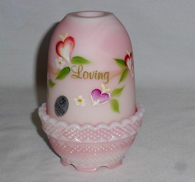 """Fenton Fairy Lamp Pink Body Loving Hearts Bloom Floral Design (4 3/4"""" Tall)"""