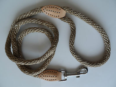 Rope Dog Lead with Genuine Leather Attachments. Good and Strong.