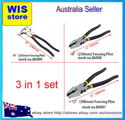 3 in 1 Fencing Plier Set 250m & 270mm & 300mm For Wire,Farm Electric Fence