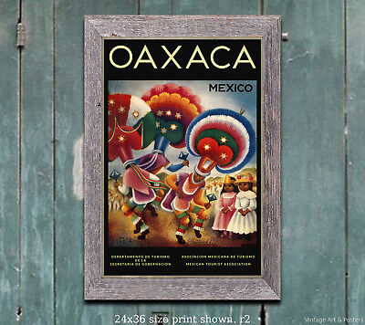 Oaxaca Mexico - Vintage Travel Poster [6 sizes, matte+glossy avail]