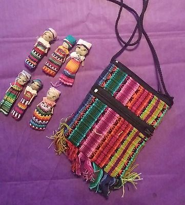 "Guatemalan Worry Dolls 2"" Set of 6 Pouch 5"" x 3.5"" Strap Trouble Dolls Pink"