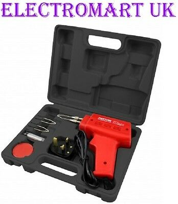 100W Electric Soldering Iron Gun 5 Piece Kit Solder Wire Flux Storage Case