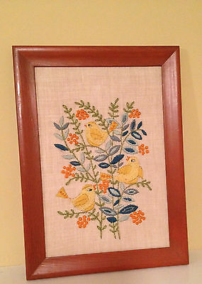 Vintage Framed Completed Crewel Embroidery Yellow Birds Blue Flowers 11 x 15