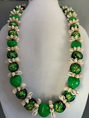 Hawaii Wedding Kukui Nut Lei w/ Cowrie Shell Graduation Luau Necklace- GREEN