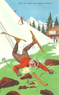 Original Vintage 1950s-60s French Artistic Comic PC- Skiing- Man Falls on Face