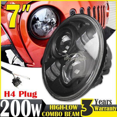 H4 7inch 100W LED Driving Light Headlight Hi-Low Beam Offroad 4WD For Land Rover