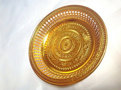 Golden Tray Serving Plate Food Traditional Thai Pattern Decor Hotel Restarant
