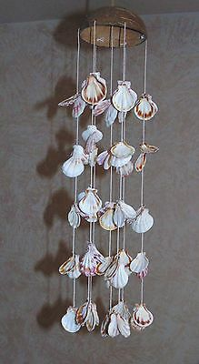 """20"""" Coconut Hat & Scallop  Sea Shell Wind Chime  Beach Tropical Chandelier"""
