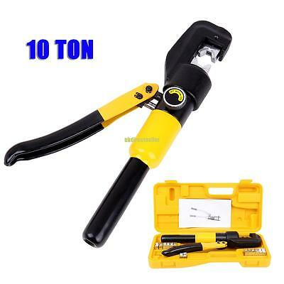 10 Ton  8 Die 4-70mm Hydraulic Crimper Cable Lug Wire Force Crimping Tool Kit