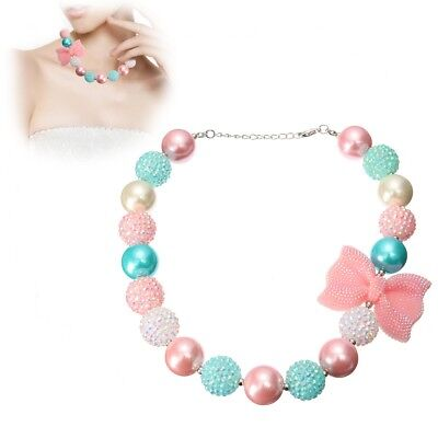 New Candy Beads Rhinestone Bow Bubblegum Necklace for Kids Girl Birthday Gift