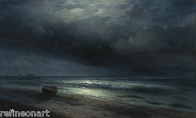 Ivan Aivazovsky A MOONLIT NIGHT AT SEA Giclee Canvas Print