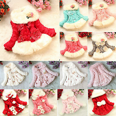Baby Girls Faux Fur Fleece Coat Jacket Kids Floral Princess Winter Warm OUTFITS