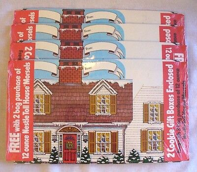Vintage Lot of 8 Nestle Toll House Cookie Gift Boxes Houses Christmas 1980s