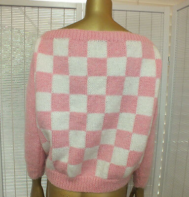 Vintage HAND MADE GEOMETRIC CArdi Knit WOOL Jumper Sweater Hipster Top S M