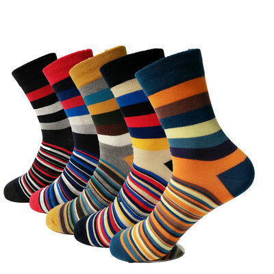 5 Pairs Mens Cotton Socks Colorful Stripe Fashion Casual Sox For Wedding Gift