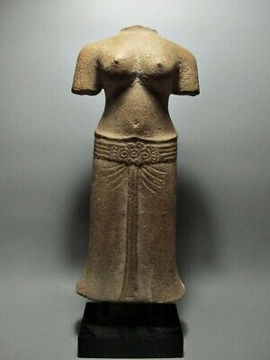 Antique Sculpture Sandstone Female Figure Torso Relic Art 'sambor Prei Kuk'