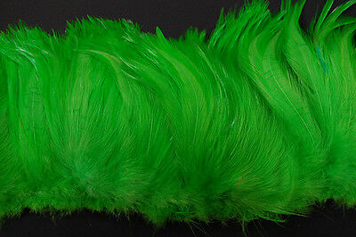 """2 Yards HACKLE FRINGE - LIME 4-6"""" Feathers Trim/Craft/Costume/Halloween"""
