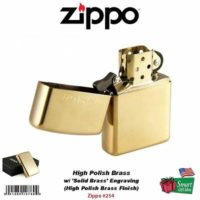 Zippo High Polish Brass Lighter w/ Solid Brass Engraving, Genuine Windproof #254