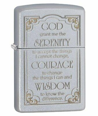 Zippo Serenity Prayer Lighter, Satin Chrome, Etched Genuine Windproof #28458