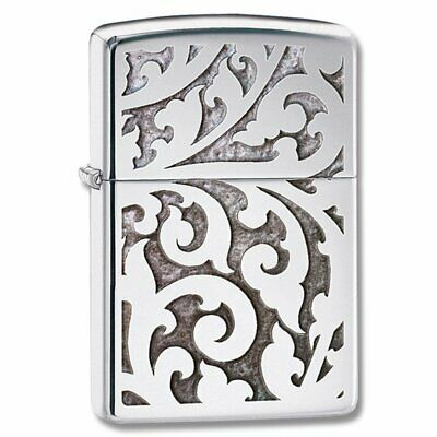 Zippo Filigree Lighter, Floral Pattern, High Polish Chrome, Windproof #28530