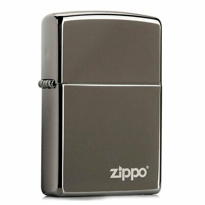 Zippo Black Ice with Logo Lighter, High Polish Chrome, Genuine Windproof #150ZL
