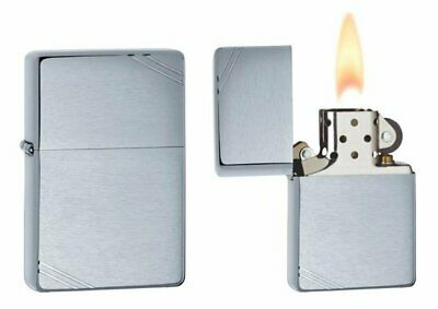 Zippo 1937 Vintage Replica Lighter, w/ Slashes, Brushed Chrome, Windproof #230