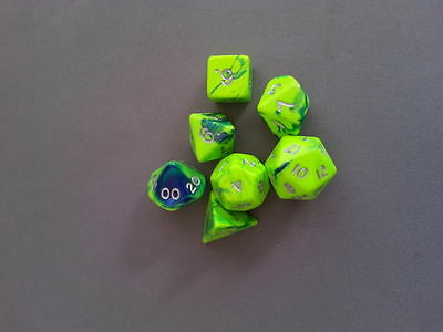 7 x Polyhedral Poly Dice Set Slime Toxic Blue/Green  D&D RPG