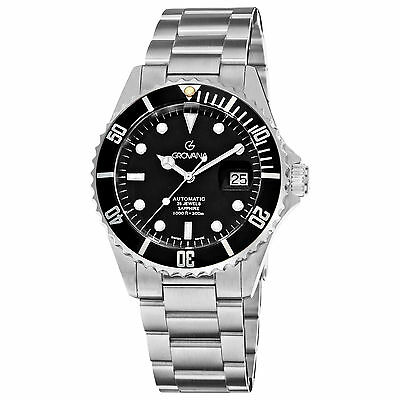Grovana Men's Diver Black Dial Stainless Steel Automatic Date Watch 1571.2137