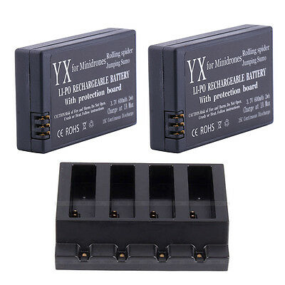 4Ports USB Charger +2 x 3.7V 600mAh Battery For Parrot Mini Drone Rolling Spider