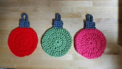 Hand Crocheted Christmas Ornament Coasters 175 Picclick