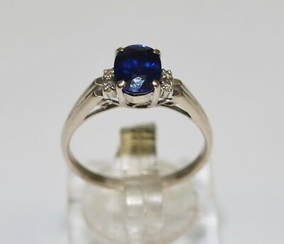 CLEARANCE 18K White Gold Oval Cut Blue Stone and Diamond Engagement Ring #688817