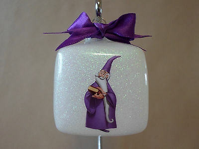 """Handmade Disney """"Merlin The Wizard"""" 3"""" Square Glass Ornament~Made In The USA~NEW"""