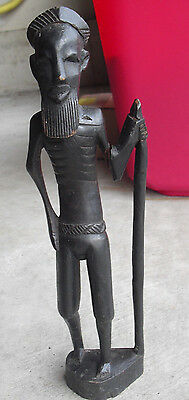 "Vintage Hand Carved Wood Tribal Man with Walking Stick Statue 12 1/2"" Tall"
