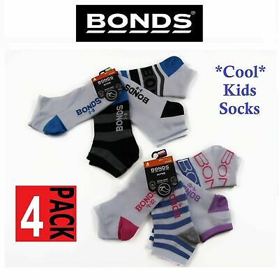 4 PACK BONDS KIDS SOCKS Boys Girls Low Cut  Blue Grey Black Pink White 2-12 yrs