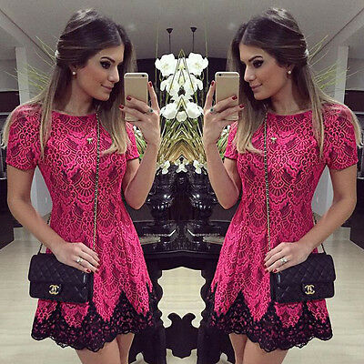 Summer Womens Floral Lace Short Sleeve Cocktail Evening Party Casual Mini Dress