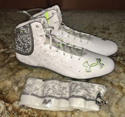 UNDER ARMOUR Banshee LAX Mid Molded Lacrosse Cleats White Silver NEW Mens Sz 14