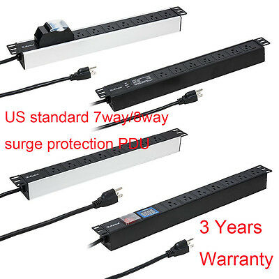 7Way/8Way Surge Protected US PDU 1U Rackmount Power Distribution Unit 2m LEAD