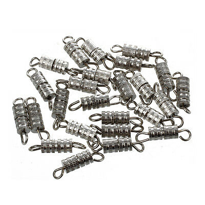 Y15 Lot of 25 Silver Tone Metal Necklace Screw Clasp 9x4mm HOT
