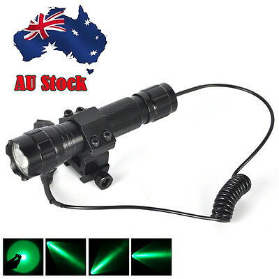 Hunting Torch Red/Green LED 3000LM Flashlight Mount Light Gun Rail 18650 Charger