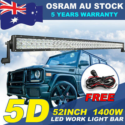52Inch 700W OSRAM LED Work Light Bar Flood Spot Combo Offroad Driving 42/50/54""