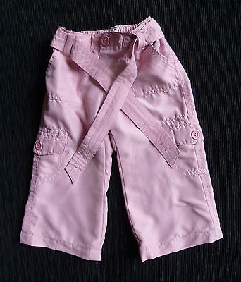Baby clothes GIRL 6-12m 41cm length pink fully-lined trousers tie front SEE SHOP
