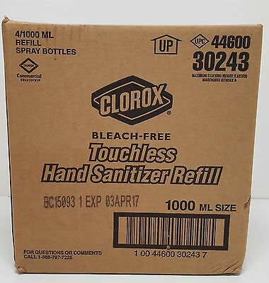 New Clorox 30243 Touch Free Hand Sanitizer 1000 ML Refill Case of 4