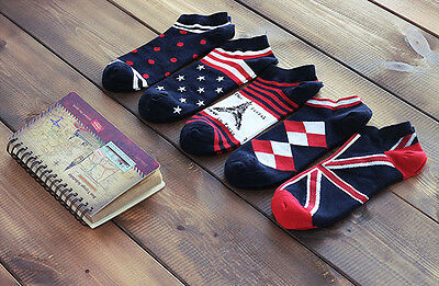 5 Pairs Mens Socks Lot Crew Ankle Low Cut Vintage National Flag Casual Socks