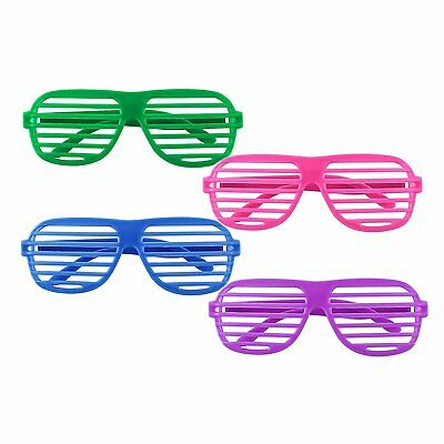 12 Pairs of Plastic Shutter Glasses Shades Sunglasses Eyewear Party Props Neon Z