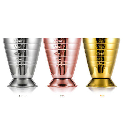 Steel Jigger Cocktail Measuring Cup Liquor Shot Bar 75ml