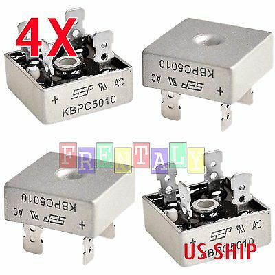 2X 2 PCS 50A 1000V Metal Case Single Phases Diode Bridge Rectifier KBPC5010