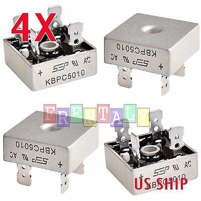 4X 4 PCS 50A 1000V Metal Case Single Phases Diode Bridge Rectifier KBPC5010