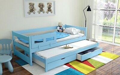 Trundle Bed with Free Mattress Guest Single Day Bed Frame Kids White Oak Storage