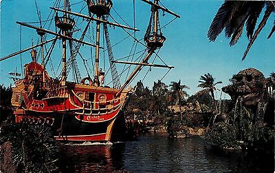 Disneyland Pirate Ship Chrome Postcard